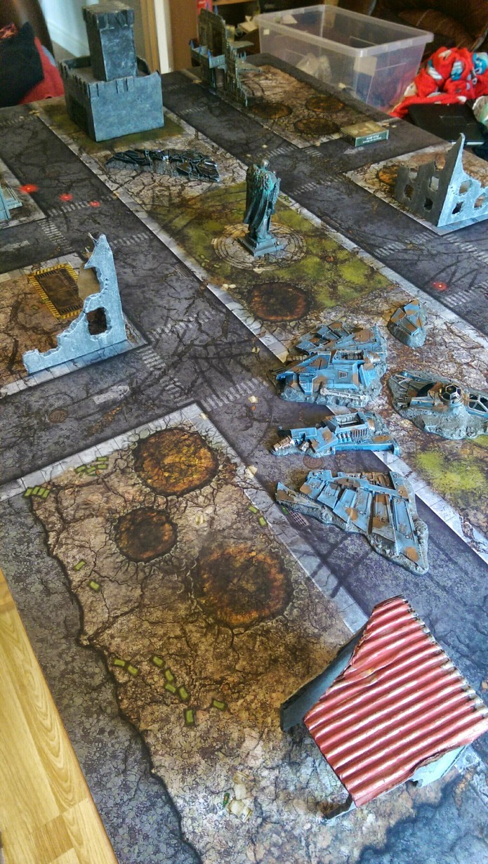 With minimal terrain added, it turns into one of the coolest table-scapes I've played on.